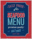 Vintage seafood poster vector illustration Stock Photos