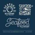 Vintage seafood restaurant with alphabet layout new york san francisco miami key west Royalty Free Stock Photos