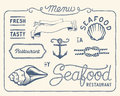 Vintage seafood restaurant collection of decorations frames and icons Stock Images