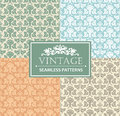 Vintage seamless background, antique, victorian silver ornament, floral luxury ornamental patterns. Royalty Free Stock Photo