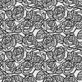 Vintage seamless background of gray roses many similarities in the profile the artist Royalty Free Stock Photography