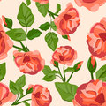 Vintage seamless background with roses vector illustration Royalty Free Stock Photo