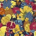 Vintage Seamless Background, Tropical Fruit