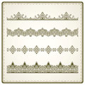 Vintage seamless borders set decorative design elements Royalty Free Stock Image