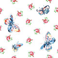 Vintage seamless floral pattern inspired with roses and butterflies Royalty Free Stock Photo