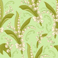 Vintage seamless floral pattern lilies valley Royalty Free Stock Photo
