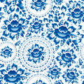 Vintage seamless ornament pattern with blue flowers and leaves gzhel vector Stock Photos