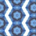Vintage Seamless pattern blue mosaic petal flower