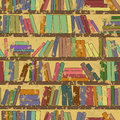 Vintage seamless pattern of bookshelf with books library Stock Images
