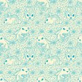 Vintage seamless pattern with bunnies and flowers can be used for wallpapers fills web page backgrounds surface textures Stock Photos