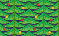 Vintage seamless pattern with christmas tree green branches and baubles Royalty Free Stock Photo