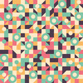 Vintage seamless pattern with circles, squares, rectangles and triangles. Royalty Free Stock Photo