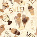 Vintage seamless pattern with collection of hand drawn ice cream