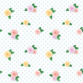 Vintage seamless pattern with colorful roses on polka dots background.