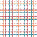 Vintage seamless pattern with crossing painted lines. Plaid texture for print, paper wallpaper, home decor, fashion