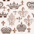 Vintage seamless pattern with crowns and fleur de lis for design Royalty Free Stock Photo