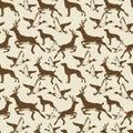 Vintage seamless pattern ducks, deers