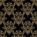 Vintage seamless pattern. Floral ornate wallpaper. Dark vector d Royalty Free Stock Photo