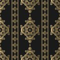 Vintage seamless pattern. Floral ornate wallpaper. Dark vector damask background with decorative ornaments and flowers in Baroque Royalty Free Stock Photo