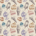 Vintage seamless pattern with ice cream and cakes Stock Photos