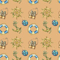 Vintage seamless pattern with nautical elements, isolated on brown background. Old binocular, lifebuoy, antique sailboat steering