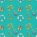 Vintage seamless pattern with nautical elements, isolated on turquoise background. Old binocular, lifebuoy, antique sailboat steer