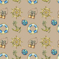 Vintage seamless pattern with nautical elements, on sand color background. Old binocular, lifebuoy, antique sailboat ste