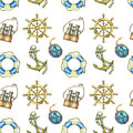 Vintage seamless pattern with nautical elements, on white background. Old sea binocular, lifebuoy, antique sailboat steer