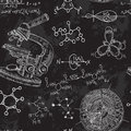 Vintage seamless pattern old chemistry laboratory with microscope and formulas. Royalty Free Stock Photo