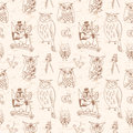 Vintage seamless pattern with owls light background hand drawn vector illustration Royalty Free Stock Images
