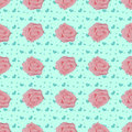 Vintage seamless pattern with pink roses Royalty Free Stock Photo