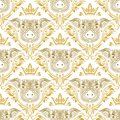 Vintage seamless pattern of repeating pig muzzle in floral ornament with crown. Gift wrapping for Chinese New Year 2019