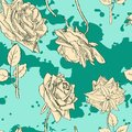 Vintage seamless pattern with roses vector illustration Royalty Free Stock Image