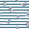 Vintage seamless pattern with stripes and butterflies Royalty Free Stock Photo