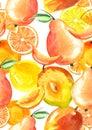 Vintage seamless pattern with watercolors - from tropical fruit, citrus spray, lemon, orange, lime, pear, mango fruit