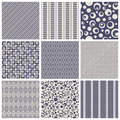 Vintage seamless patterns set of vector illustration Royalty Free Stock Photo