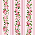 Vintage seamless stripped pattern with pink roses. Royalty Free Stock Photo