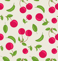 Vintage Seamless Wallpaper of Cherries with Green Leaves