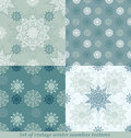 Vintage seamless winter patterns with snowflakes eps Royalty Free Stock Photography
