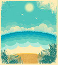 Vintage seascape vector background with sea and sun on old paper texture illustration Stock Photography