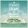 Vintage seaside view poster vector background Royalty Free Stock Photo