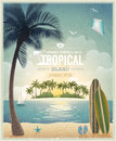 Vintage seaside view poster vector background Royalty Free Stock Image