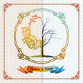 Vintage seasons template with subtle colors change from Autumn to Winter Royalty Free Stock Photo