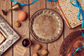 Vintage seder plate for Jewish holiday Passover Royalty Free Stock Photo
