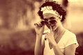 Vintage sepia portrait of a girl in summer forest Royalty Free Stock Photo