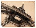Vintage sepia postcard of Eiffel tower in Paris Royalty Free Stock Image