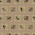 Vintage sepia seamless pattern with cute bird stamps