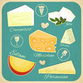 Vintage set of cheese various types on a retro background illustration Royalty Free Stock Image