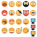 Vintage set of glossy emoticons vector illustration Stock Image