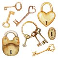 Watercolor set with vintage keys and locks Royalty Free Stock Photo